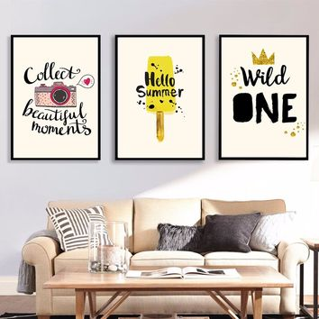 Picture Canvas Watercolor A4 Art Poster Prints Summer Wild One Camera Hanging Hipster Wall Painting Kids Room Home Decor