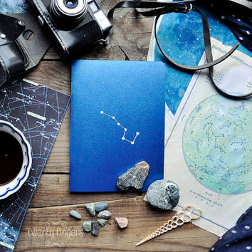 "Indian Blue notebook-sketchbook with a carved pattern - constellation ""Ursa Major"""