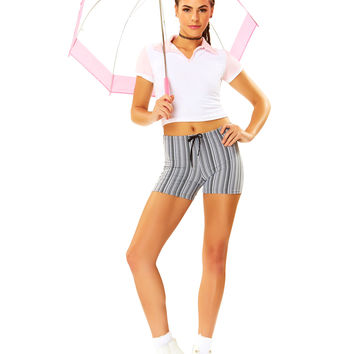 Line Up White Striped Drawstring Short
