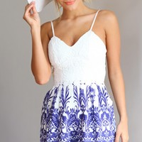 SMOOTH SAILING PLAYSUIT - Crochet detailed bust line, blue and white playsuit