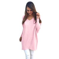 Autumn winter V neck sweater women loose long batwing sleeve sweater Fashion pullovers thin sweaters jumper