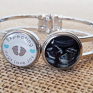 Baby Sonogram Bracelet / Baby Shower Gift / Ultrasound Photo Jewelry/ Announcement Bracelet / Photo Jewelry Cuff Bracelet / Photo Charm