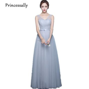 Bridesmaid Dresses Long Light Grey Sleeveless Pleat Robe Demoiselle d'honneur Vestido De Festa Mixed Prom  Dresses Under 50