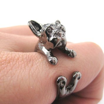 French Bulldog Puppy Dog Animal Wrap Around Ring in Gunmetal Silver | Sizes 4 to 9