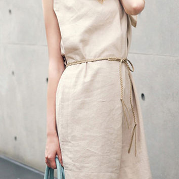 Coffee Colored Round Neckline Sleeveless Shift Dress
