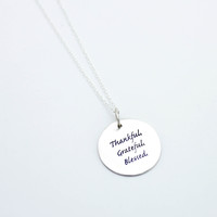 Thankful sterling silver necklace