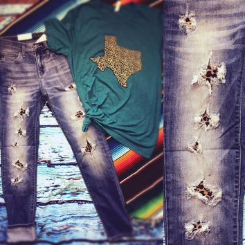 Judy Bloom Hand Patched Leopard Skinny Jeans