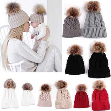 Mom And Baby Knitting Keep Warm Hat Woman Winter Hat Newborn baby Double Ball Winter Beanie Hat Family Matching Outfits
