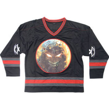 Disturbed Men's  Scary Face Hockey Jersey Hockey Jersey Black Rockabilia