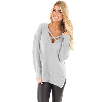 Chicloth Gray Deep V Neck Crisscross Knit Sweater