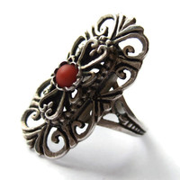 Art Deco ring, 800 silver and coral, filigree openwork, vintage jewellery. #71.