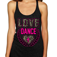 Love Dance Leopard Womens Triblend Tanktop
