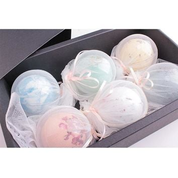 New High Quality Round Pattern Bath Ball Deep Sea Bath Salt Body Essential Oil Bath Ball Natural Bubble Bath Bombs Ball 5 Flavor