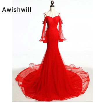 a38bf20a4065 Sexy Red Party Long Dress Real Picture Spaghetti Strap Long Slee. Occasion:  Formal ...