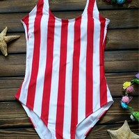 Fashion vest red white Vertical stripe one piece bikini show thin backless