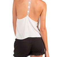 Chevron Trim T-Back Crop Tank - Small - White /