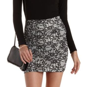 Black/White Lace Print Bodycon Mini Skirt by Charlotte Russe