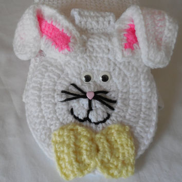 Crochet Hanging Towel Topper - Bunny