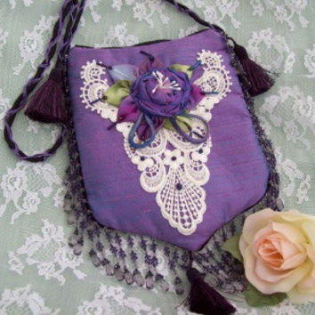 Lavender Silk Dupioni Zippered Purse
