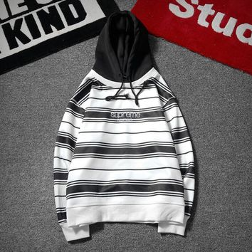 Supreme Women Fashion Stripe Loose Hoodie Pullover Top Sweater