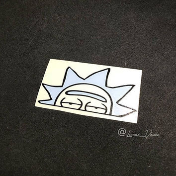 Rick peeping rear view mirror decal, decals, stickers, rick and morty, car decals, custom decals, rick and morty stickers