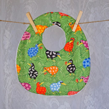 Kiwiana Babies Bib Unisex for Boy or Girl Hand Made with absorbent toweling reverse, bright, cheerful kiwi print