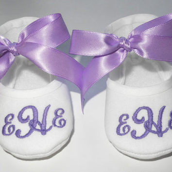 Baby Baptism Shoes - Personalized White Booties - Christening Booties - Newborn to 14 months sizes