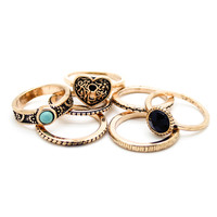 Boho multi rings set