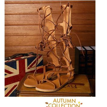 women real leather strappy open toe knee high summer gladiator boots flat heel sandals roman bandage casual shoes woman