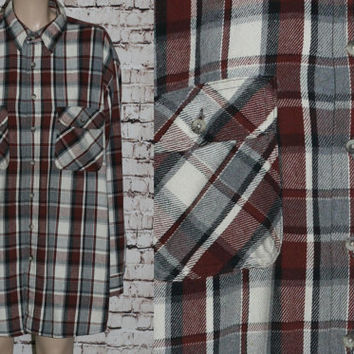 90s Flannel Shirt Plaid Brown Grey Black Button Up Grunge Punk Hipster Festival Mens Wear Thick XL Jacket Tartan Coat