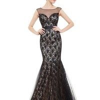 Ever Pretty Illusion Neckline Fitted Mermaid Black Lace Evening Gown 08471