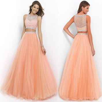 Beautiful 2015 Hot Long Orange Two Piece Prom Ball Dress Women Bead Tulle Formal Evening Party Gown Free shipping