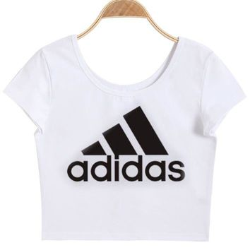 """Adidas""Letter Print Round Neck Solid Cotton Chic Crop Top Tee"