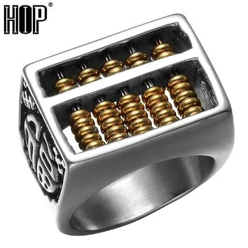 HIP Punk Two Tone Gold Color Titanium Stainless Steel Maths Number Removable Abacus Fingers Rings for Men Jewelry