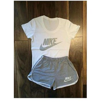 Fashion Online Nike Women Fashion Print Short Sleeve Top Shorts Pants Sweatpants Set Two-piece Sportswear