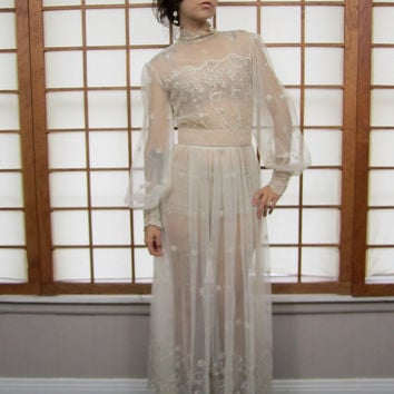 60's Vintage Embroidered Sheer Lace Wedding Dress Victorian Edwardian S