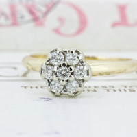Tiny Diamond Cluster Ring   Dainty Diamond Stacking Ring   Vintage 14k Gold Engagement Ring   1960s Daisy Cluster Cocktail Ring   Size 5