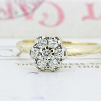 Tiny Diamond Cluster Ring | Dainty Diamond Stacking Ring | Vintage 14k Gold Engagement Ring | 1960s Daisy Cluster Cocktail Ring | Size 5