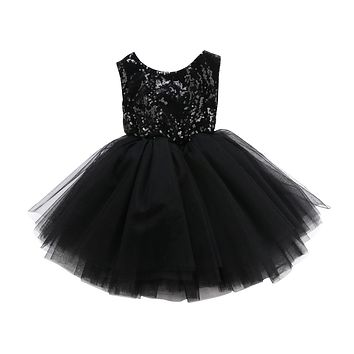 Backless Princess Kids Baby Flower Girls Clothing Party Sequins Dress Sleeveless Tutu Mini Tiered Mini Dresses Girl