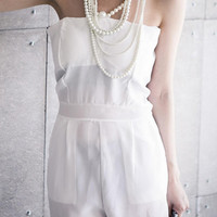 YESSTYLE: 98 Percent- Faux Pearl-Strap Chiffon Playsuit (White - One Size) - Free International Shipping on orders over $150