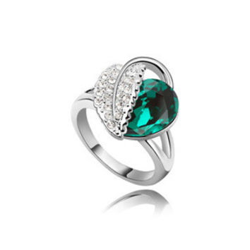 New Arrival Shiny Jewelry Gift Korean Luxury Stylish Strong Character Accessory Crystal Leaf Ring [4989614852]