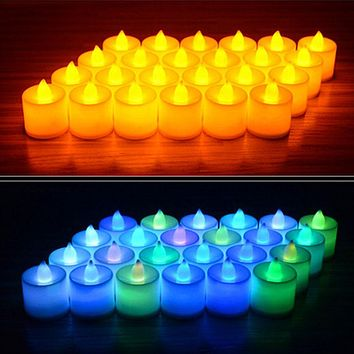 6pcs Battery Powered LED Candl Multicolor Lamp Simulation Color Flame Flashing Tea Lights Home Wedding Birthday Party Decoration