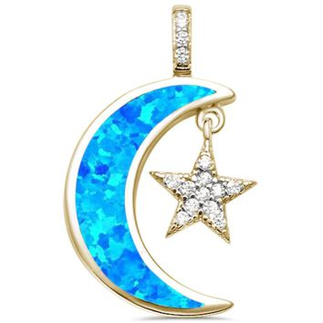 Yellow Gold Created Blue Opal Crescent Moon & Star