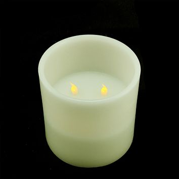 "6"" Ivory Battery Operated Flameless LED Lighted 3-Wick Flickering Wax Christmas Pillar Candle"