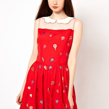 Red Balloon Print Sleeveless Scallop Mesh Collar Pleated Chiffon Mini Dress
