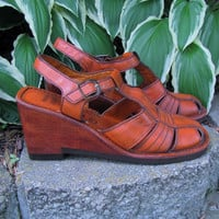 vintage wood and leather platform mary jane sandal by Buskens. made in Brazil. size 7.5 M.
