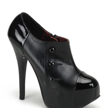 Bordello Black Button Bootie Platform Heels