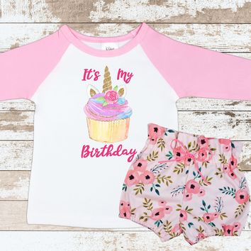 Cupcake Unicorn Pink Floral Shorts Outfit