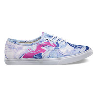 Vans Marble Authentic Lo Pro Womens Shoes Blue/True White  In Sizes