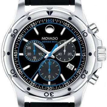 Movado Series 800 Men's Stainless Steel Case Black Rubber Band Black Dial Blue Accents Chronograph 42mm Watch 2600102